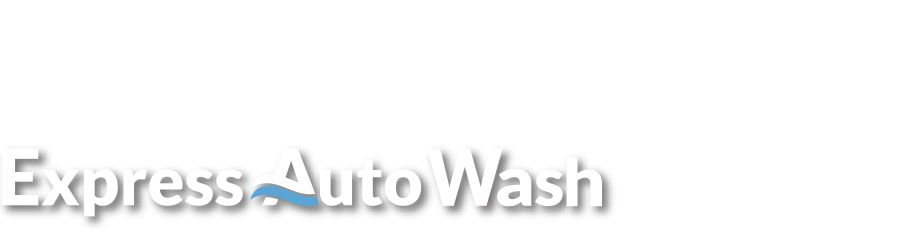 Express AutoWash logo in white with legal text above